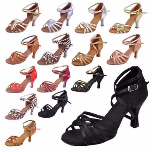 Women's Ladies Ballroom Sexy Latin Tango Dance Shoes Heeled Salsa 3 Colors 5/7CM