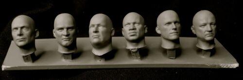 75 mm 1//24th scalescale résine 6 x Bare Heads Set