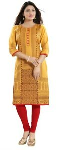 Women-Indian-Kurti-Tunic-Yellow-Cotton-Printed-Kurta-Shirt-Dress-MM196