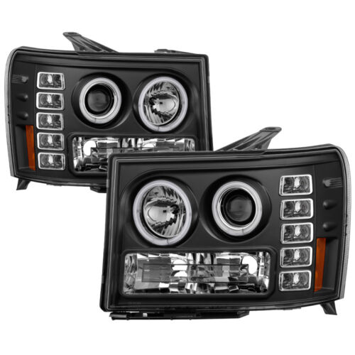 GMC 07-13 Sierra Pick Up Black CCFL Dual Halo LED Projector Headlights Lamp