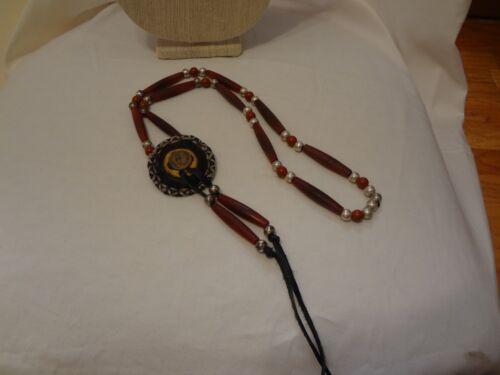 VIntage Bone Native American leather necklace. Lin
