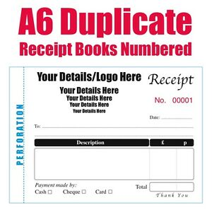 personalised receipt books pads a6 numbered 5 books of 50 duplicate