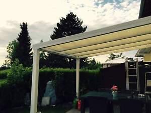 Terrassendach Alu 10 mm VSG + Sonnensegel Terrassenüberdachung 5 m breit Glas