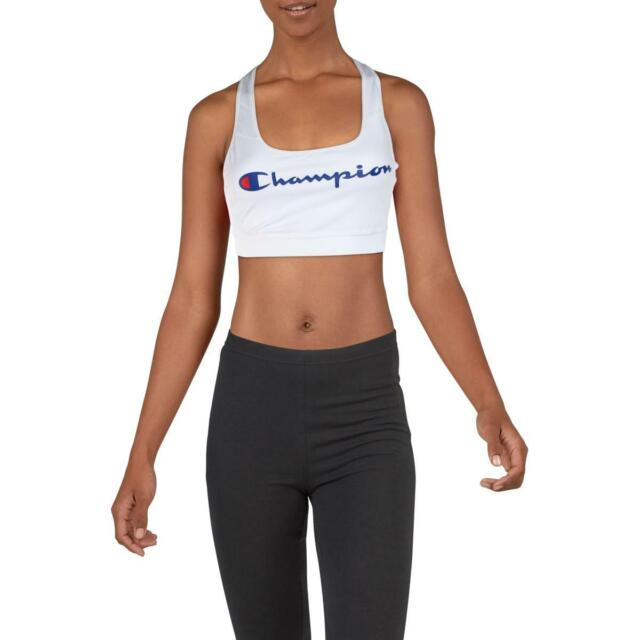 Champion Womens The Absolute Workout White Sports Bra Athletic M BHFO 4202