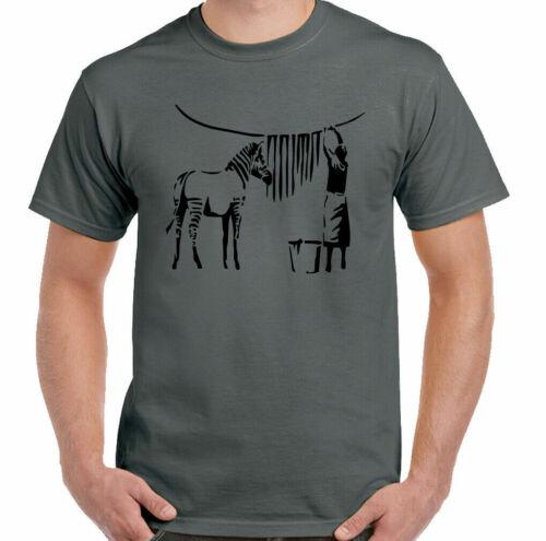 BANKSY Zebra T shirt Funny Graffiti Street Art Retro NEW Men's Ladies Kids Tops