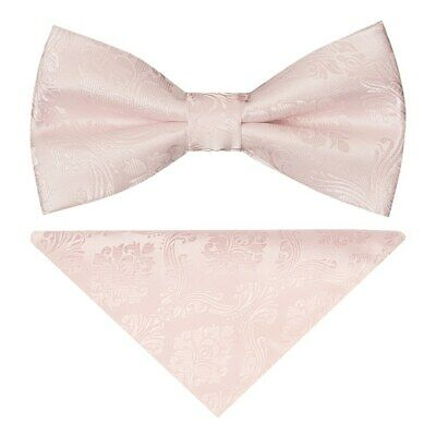 TIES R US Pre Tied Blush Pink Satin Boys Bow Tie and Pocket Square Set Dickie Bow Set