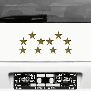 10 Adhesive Stars 5cm Gold WM Stern Car Window Sticker Die Cut Decal Decor Film