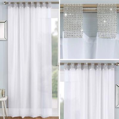 White Voile Curtain Panels Diamante, Sparkle Curtain Panels