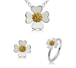 Fine Jewelry Sets A06 Set Bloom Necklace With Pendant Earring Ring Sterling Silver 925 Elegant Shape Fine Jewelry