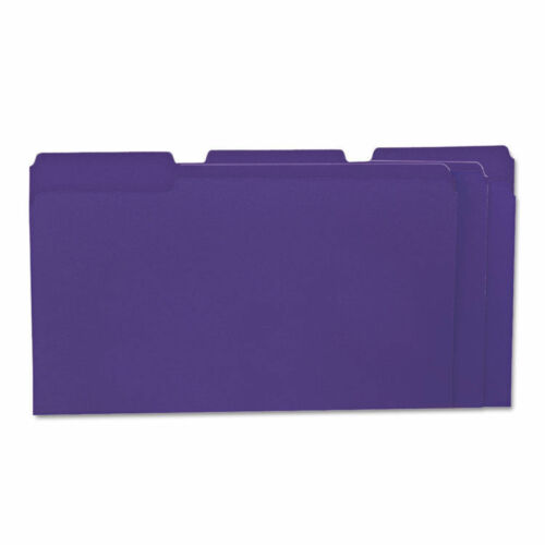 File Folders 1//3 Cut One-Ply Top Tab Legal Violet//Light Violet 100//Box UNV10525