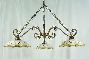 Dettagli su Lampadario con 3 luci LED in ferro battuto ceramica decorata  per cucina art.L8