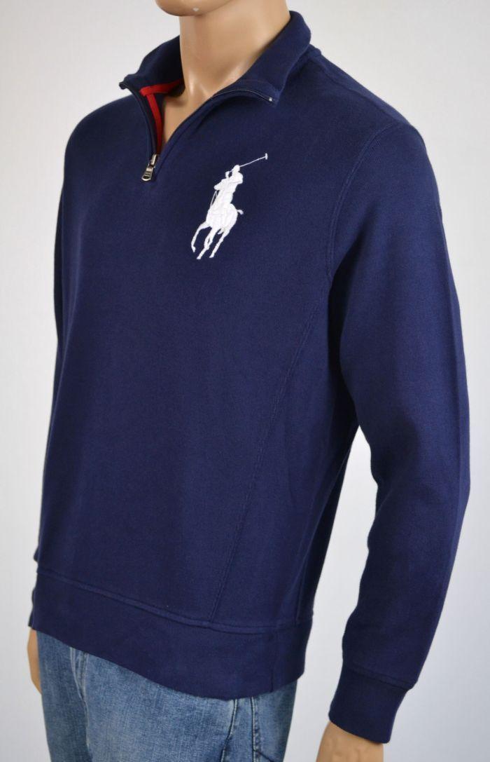 Ralph Lauren  Azul Marino blancoo Big Pony 1 2 Medio Jersey con Cremallera NWT S  A la venta con descuento del 70%.