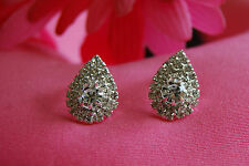Elegant Dew-Drop Screw-Back Clip-on Earrings with Sparkling Clear Crystals