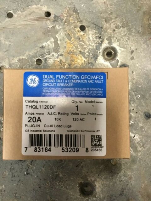Ge Thql1120df 20 Amp 120 Vac Dual Function Afci  Gfci Circuit Breaker For Sale Online