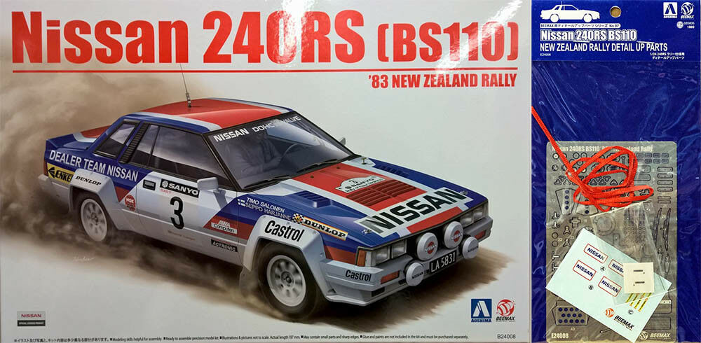 Nissan 240RS '83 New Zealand Rally + Detail Up Parts 1 24 Modell Kit Beemax