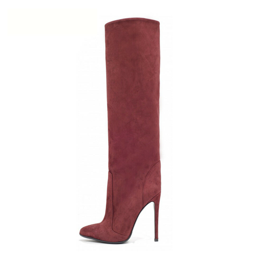 Women Pointed Toe Straight Shaft Knee High Boots Wide Ankle Large Size Slip On