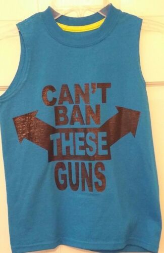 Boy Muscle Tshirt Teal Fruit of the Loom Cant Ban These Guns Humor Cotton NWT X