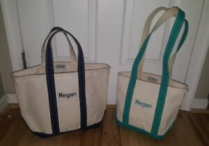 Amazing Details About Lot Of 2 Vtg Ll Bean Boat Tote Natural Canvas Bag Monogrammed Megan Blue Green Cjindustries Chair Design For Home Cjindustriesco