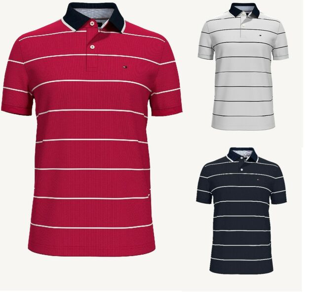 Tommy Hilfiger Men/'s Burgundy//Grey Cotton Short Sleeve Custom Striped Polo Shirt
