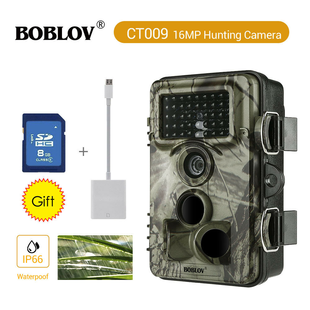 1 2Pcs 16MP Trail Hunting Camera 8GB Card +Bag HD 30fps Video Recording Security