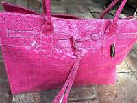 Crocodile Effect Sax Hot Pink Purse Bag Holdall Tote Shiny Brand With Tag