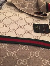 NWT Gucci 325806 Beige Grey Wool Reversible GG Guccissima Red Green Stripe Scarf