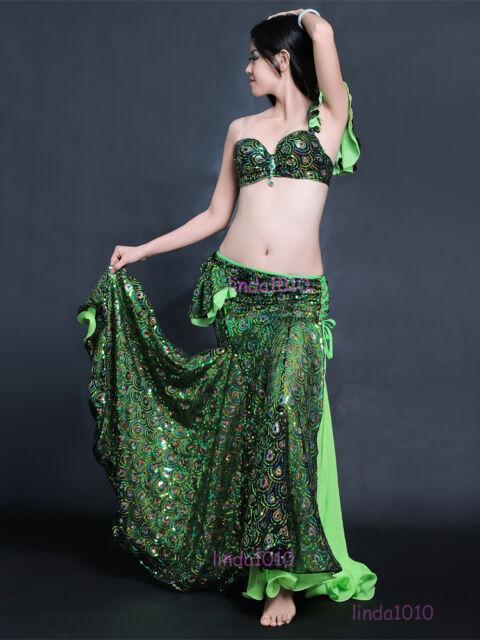C926 Belly Dance Costume Set Bra Top Skirt Dress Carnival Bollywood XL/Bra D Cup
