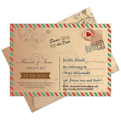 Cosciente Save The Date Carte Come Cartolina Postale-vintage-grunge-airmail - Postcard-mostra Il Titolo Originale Facile Da Riparare