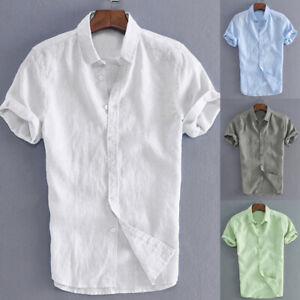 UK-Men-039-s-Summer-Retro-Shirts-Cotton-Linen-T-Shirt-Casual-Collar-V-Neck-Tee-Tops