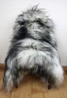 XXL Large Black/Grey Fleck on White/Ivory Genuine Icelandic Real Sheepskin Rug