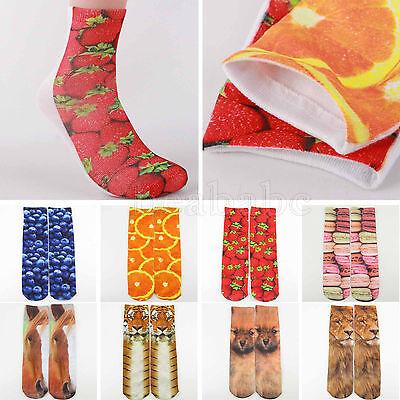 New Fashion Men's Woman's Multiple Colors Harajuku 3D Printed Cotton High Socks