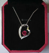 Silver Crystal Diamonte Valentine Heart Ruby Pendant Necklace in Luxury Red Box