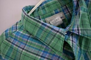 Wrangler-Wrancher-Mens-3XL-Western-Pearl-Snap-Shirt-Green-Plaid-Short-Sleeve