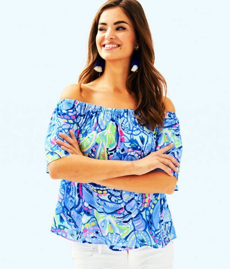 NEW Lilly Pulitzer SAIN TOP Blau Peri Pinch Pinch off  Shoulder Blouse S M L