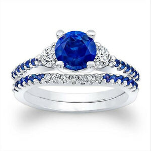 1-61-Ct-Natural-Diamond-Natural-Blue-Sapphire-Ring-Sterling-Silver-Size-P-N-S445