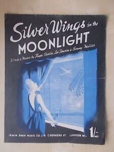 Actif Vintage Sheet Music-argent Ailes Dans Le Clair De Lune-afficher Le Titre D'origine Valeur Formidable
