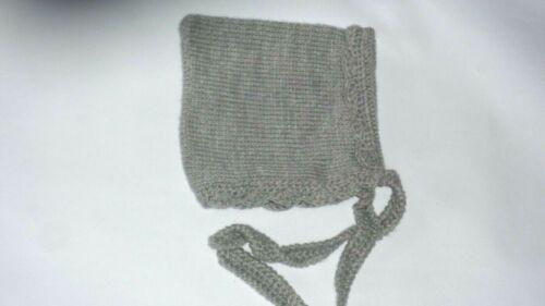NEW LOVELY Baby Infant Grey Knitted Crochet Bonnet Pixie Beanie