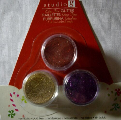 NEW 3 pk GLITTER SETS Fine Glitter STUDIO G Christmas Your Choice of Color