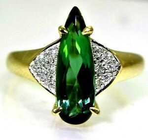 Stunning-Pear-Green-Tourmaline-amp-Diamond-18ct-Yellow-Gold-Ring-size-N-6-3-4