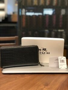 reputable site a9176 8ad84 Details about NWT Coach F12130 Accordion Zip Around Wallet Textured Leather  Black $275