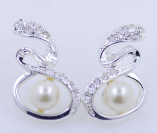 Silver and clear coloured crystal and white pearl stud earrings