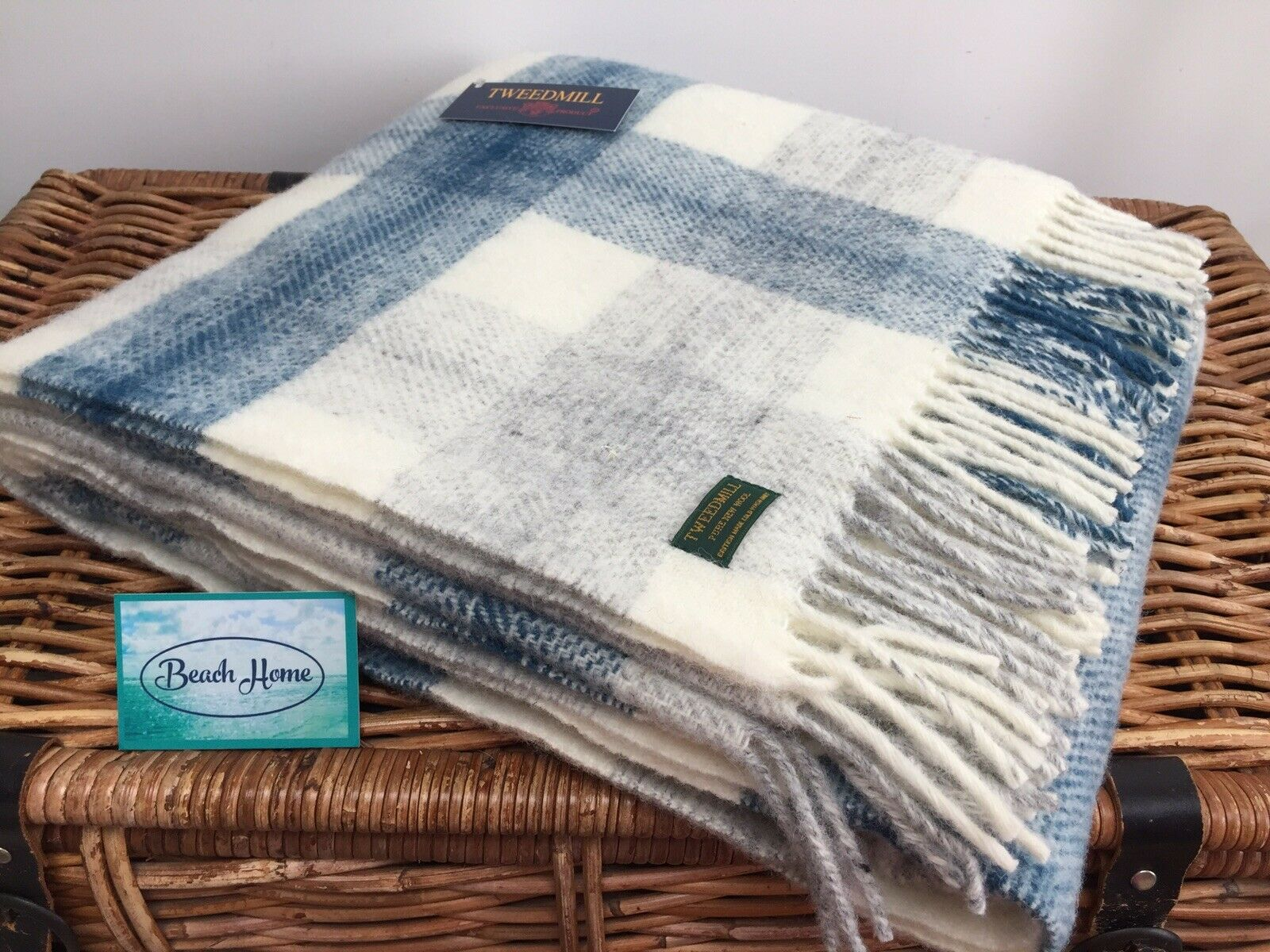 Tweedmill Textiles Prado Tinta Azul gris Crema cheque Manta Cobertor Alfombra De Lana Pura