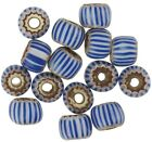 RARE OLD blue striped 4 layer CHEVRON VENETIAN DRAWN GLASS BEADS African trade