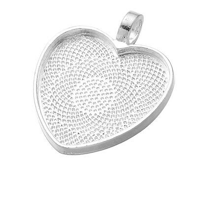 25mm Silver Plated Heart Cabochon Bezel Base Setting With/Without Glass Seals