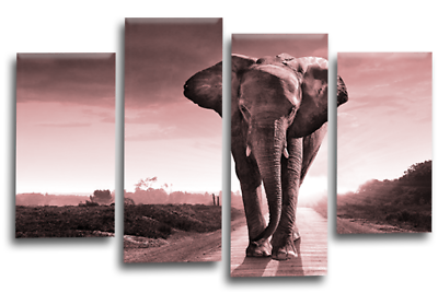 ELEPHANT SUNSET Canvas Wall Art Picture Brown Grey Split Multi 4 Panel 44/""