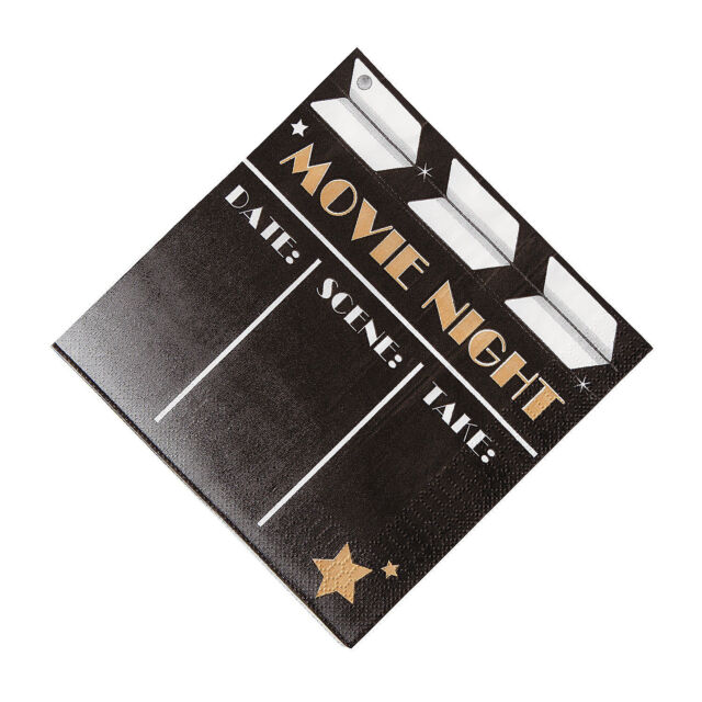 16 HOLLYWOOD Awards Party MOVIE PREMIER NIGHT Clapboard Print LUNCHEON NAPKINS