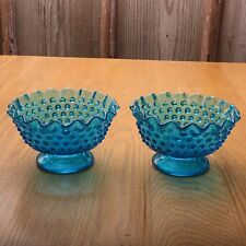 2 Fenton Hobnail Blue Glass Footed Candle Holders Crimped Edges