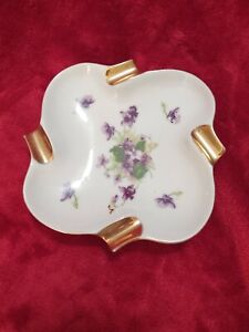 "Ashtray Vintage Porcelain China W Gold Cigarette Rest 6""X6"""