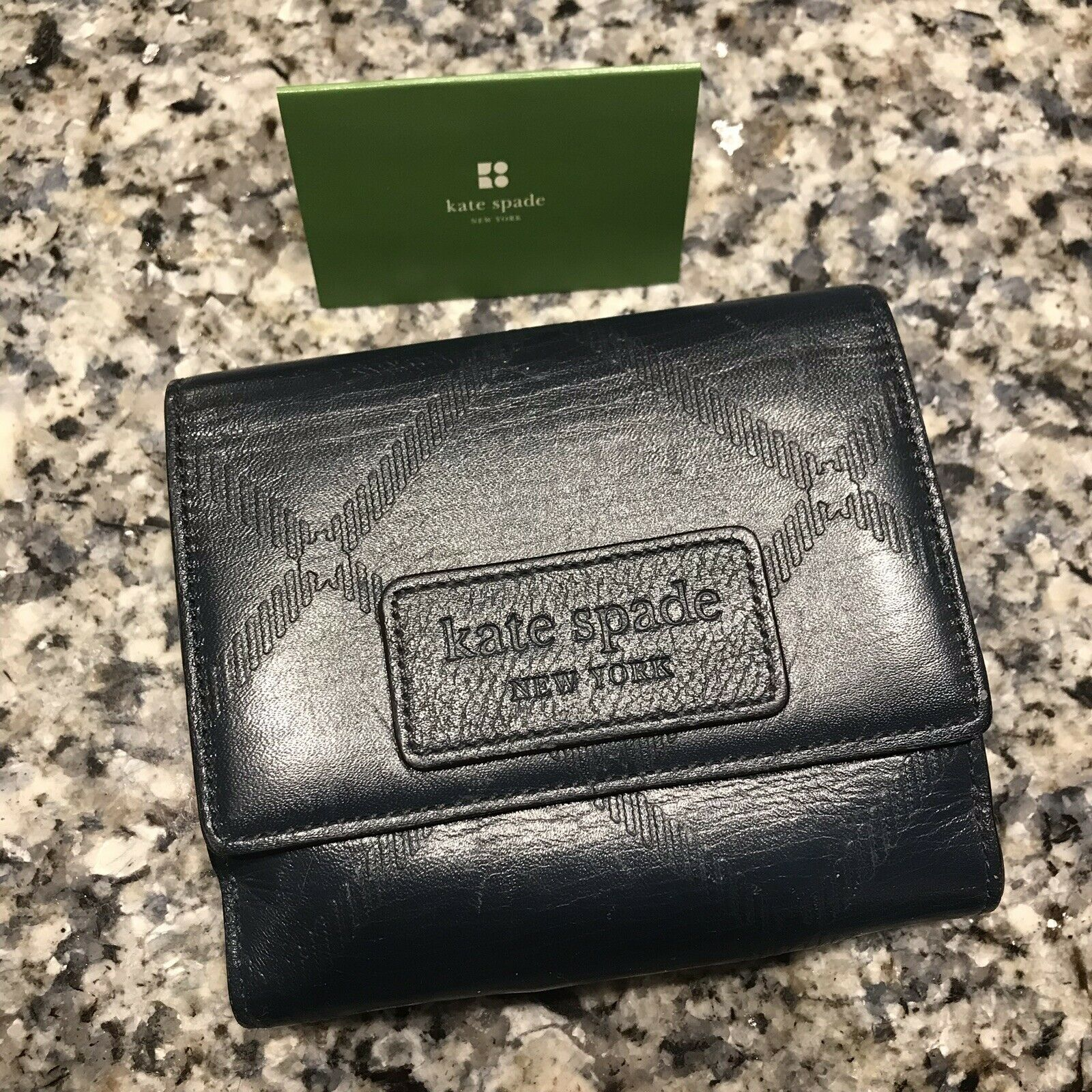 New Kate Spade Navy Blue Small Bifold Leather Check Snap Wallet French Purse