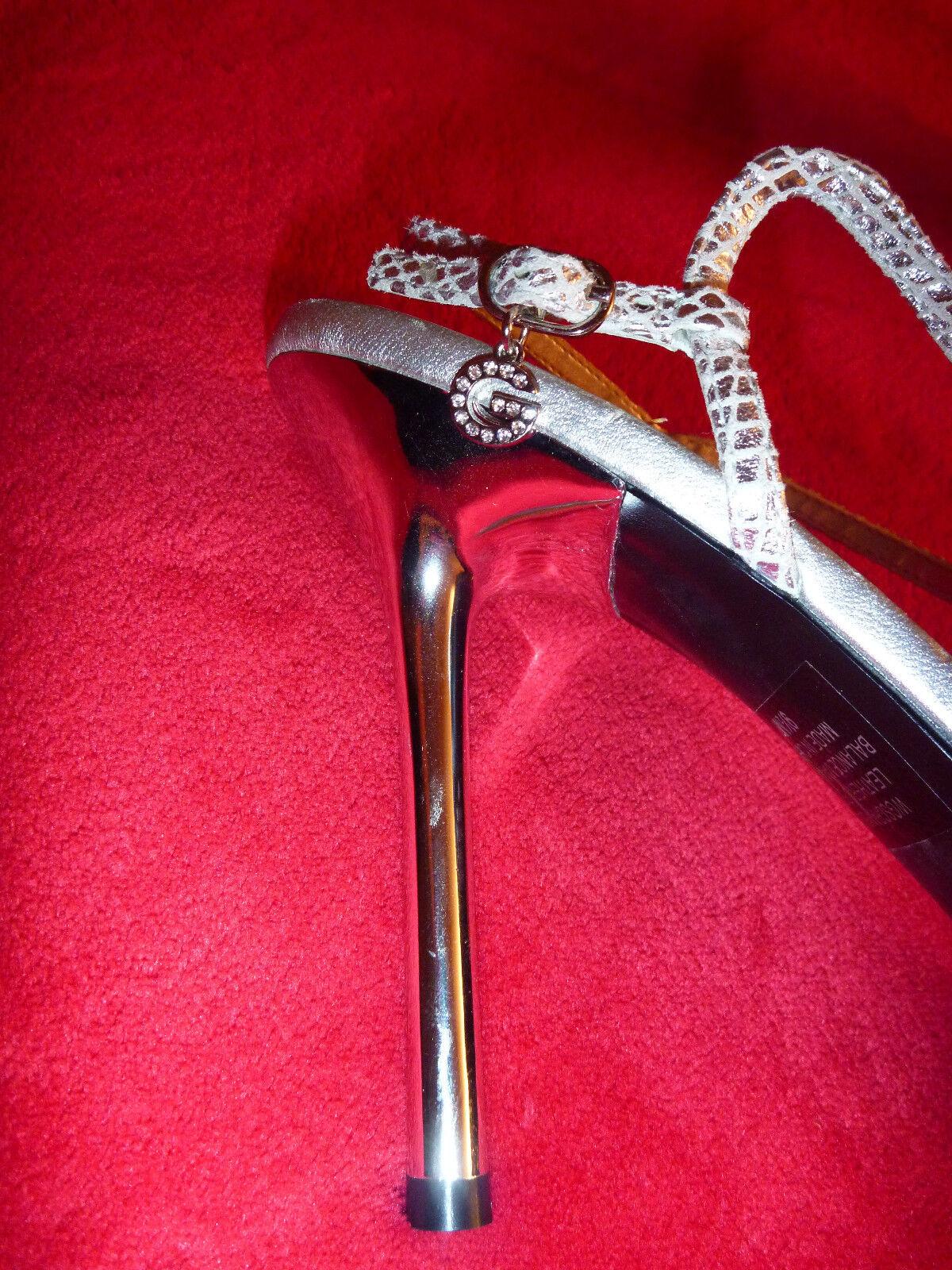 Guess Damens 9.5 High Heel STRAPPY Dress Sandales Metal Silver STRAPPY Heel Leder Prom New b268b2